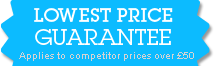 Lowest price guarantee. Applies to competitor prices over £50