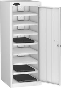 Probe Eight Bay White Laptop Locker (charging)