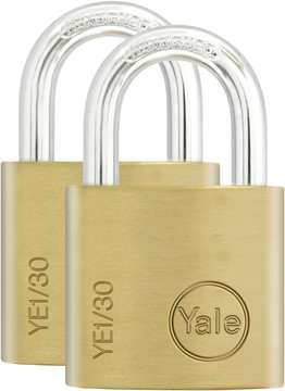 2 PACK YALE SECURITY PADLOCKS 30mm NEW SOLID BRASS KEYED ALIKE