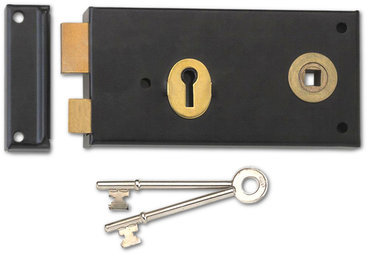 Union 1465 - Double Handed 3 Lever Rim Lock (140mm) - R/H (Black)
